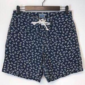 J. Crew   Navy & white anchor board shorts swim 29